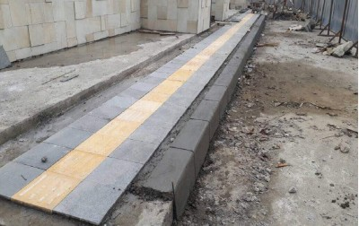 Guiding Block | Andesit Bakar Application at Sidewalk Pedestrian